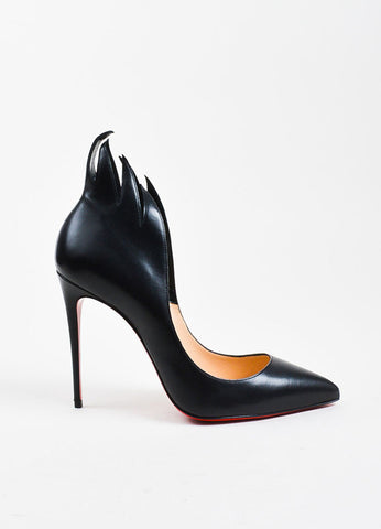 "Christian Louboutin Black Leather ""Victorina"" 100mm Stiletto Pumps Sideview"