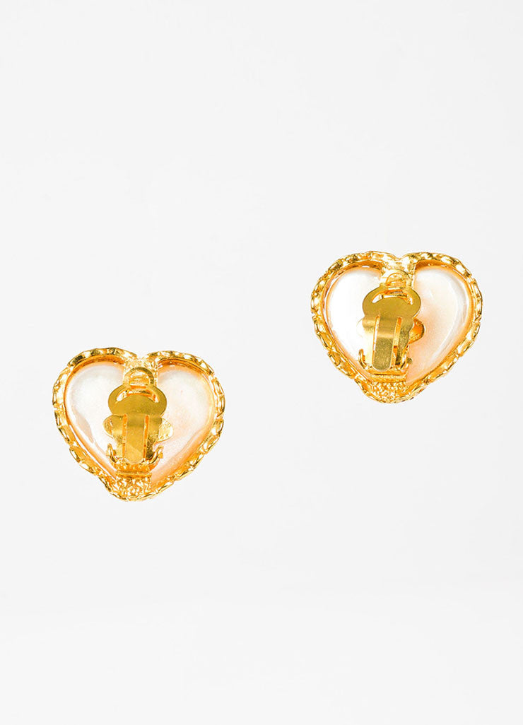 Chanel Gold Toned Faux Pearl Heart 'CC' Clip On Earrings Backview