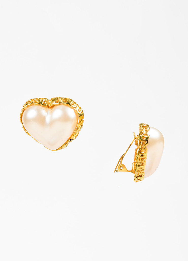 Chanel Gold Toned Faux Pearl Heart 'CC' Clip On Earrings Sideview
