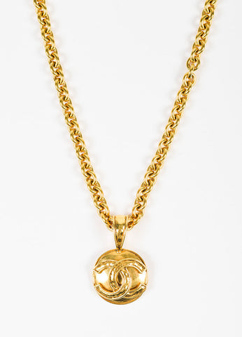 Chanel Gold Toned Chain 'CC' Pendant Necklace  Detail