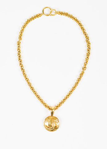 Chanel Gold Toned Chain 'CC' Pendant Necklace Frontview