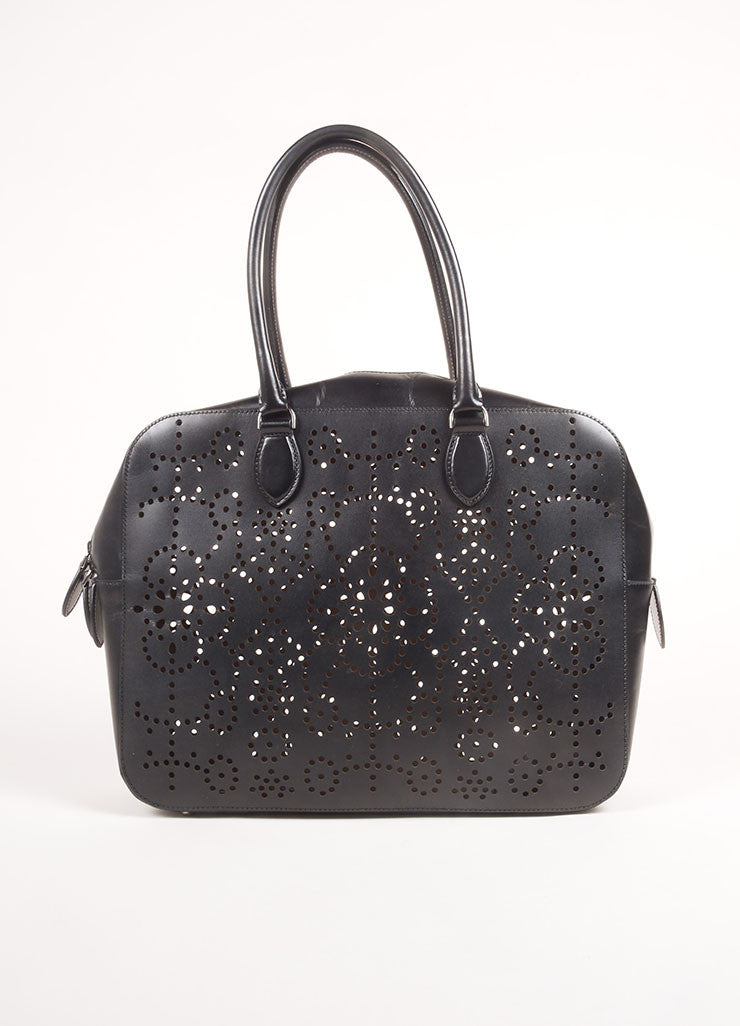 Alaia Black Laser Perforated Leather Rectangular Shoulder Bag Frontview