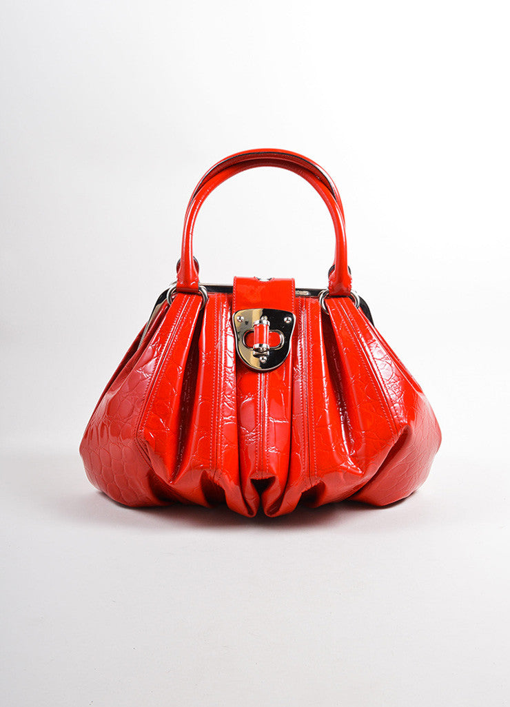 "Alexander McQueen Red Patent Leather ""Elvie"" Frame Handle Bag Frontview"