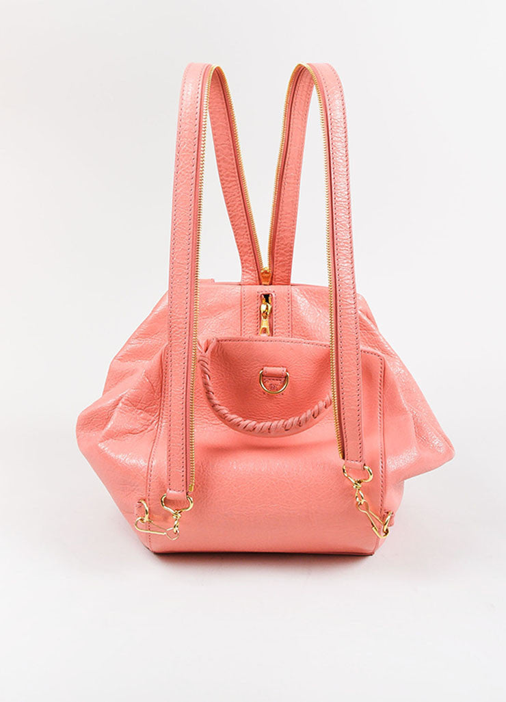 "¥éËBalenciaga Coral Pink Leather ""Giant 12 Traveller"" Convertible Backpack Backview"