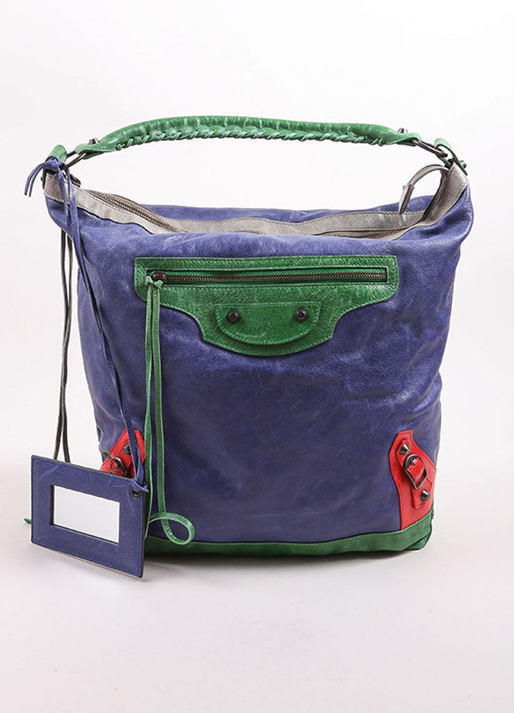"Balenciaga Blue, Green, and Red Leather ""Motocross Tri Color Day Bag"" Bucket Tote Bag Frontview"