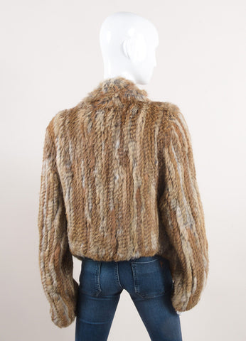 Belle Fare New With Tags Brown Rabbit Fur Jacket Backview