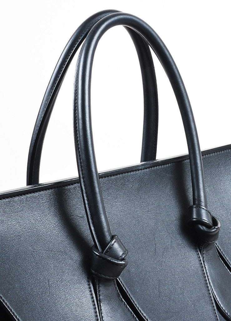 "Celine Black Leather Flap Top ""Medium Tie"" Tote Bag Detail 2"