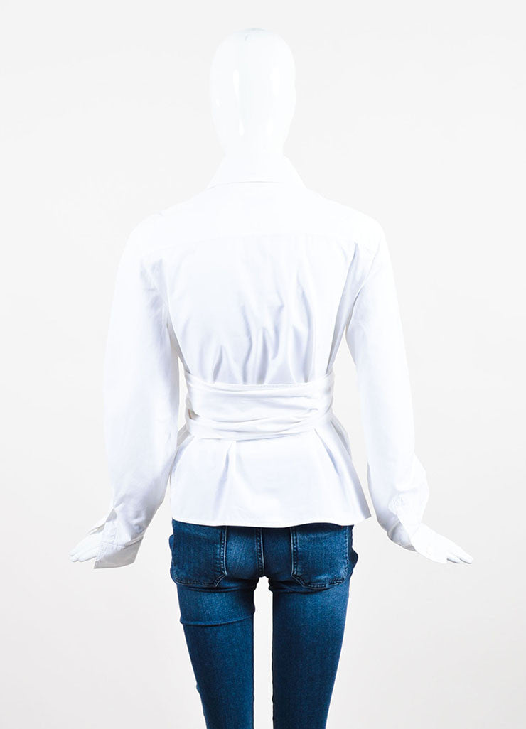 White Chanel Cotton Panelet Tie Button Up Long Sleeve Collared Blouse Back