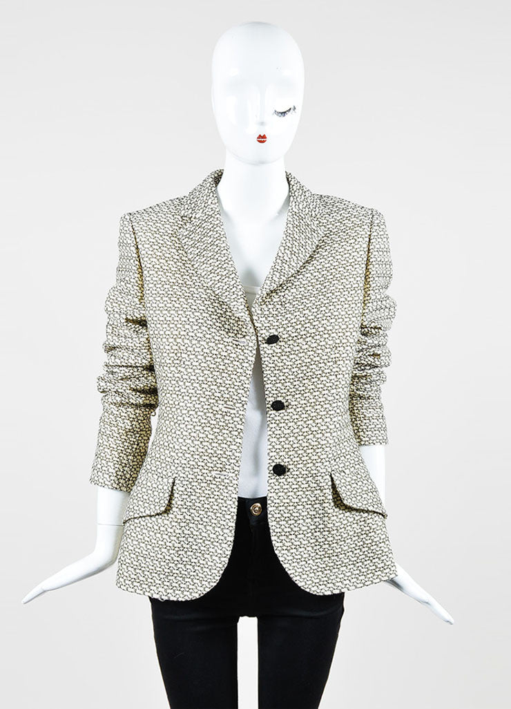 Cream and Black Chanel Wool Pattern Embroidered Notch Collar Button Jacket Frontview
