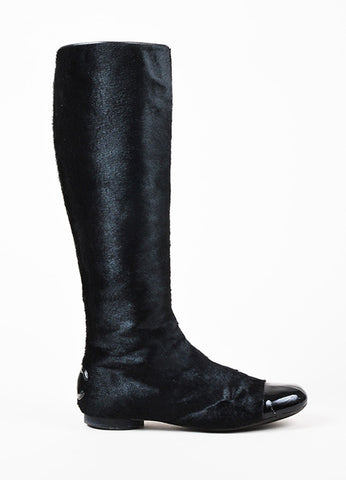 Chanel Black Haircalf Patent Leather Cap Toe 'CC' Zip Up Tall Flat Boots Sideview