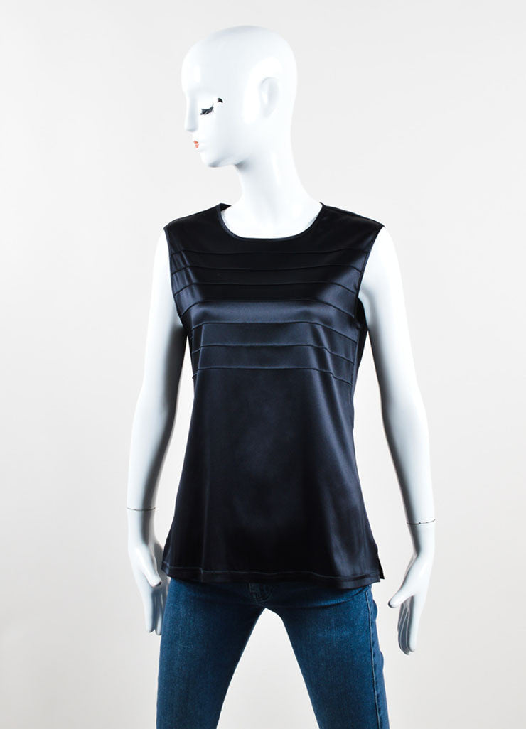 Chanel Black Silk Pleated Scoop Neck Sleeveless Shell Blouse Frontview