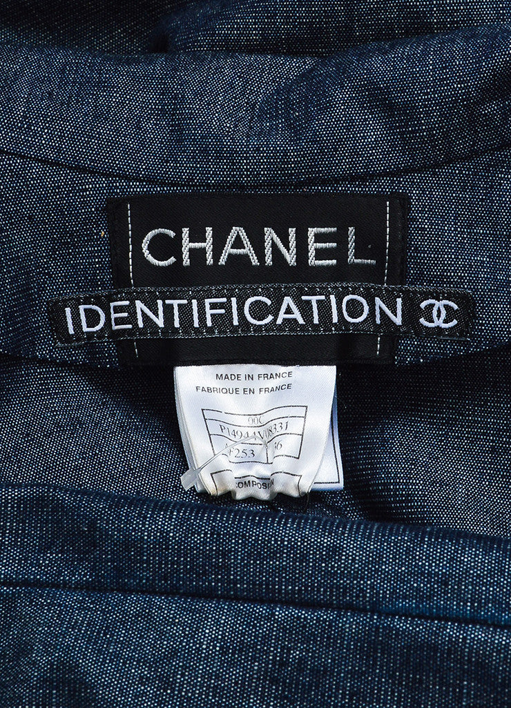Chanel Blue Denim Sequin Pocket Pointed Collar Jacket Brand