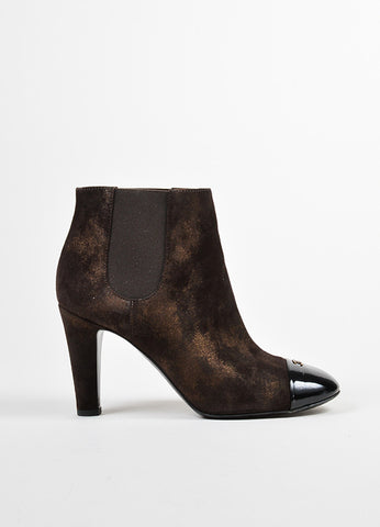 Chanel Metallic Bronze Brown and Black Leather Cap Toe 'CC' Ankle Booties Frontview