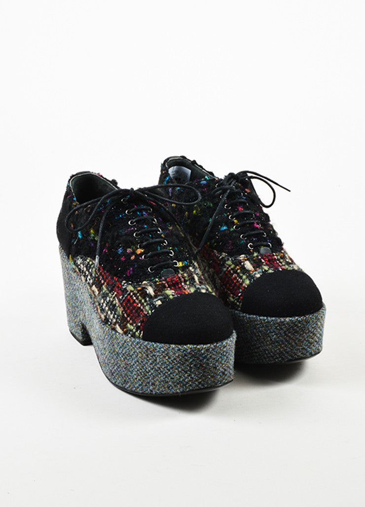 Black Multicolor Chanel Lace Up Tweed Platform Oxfords Front