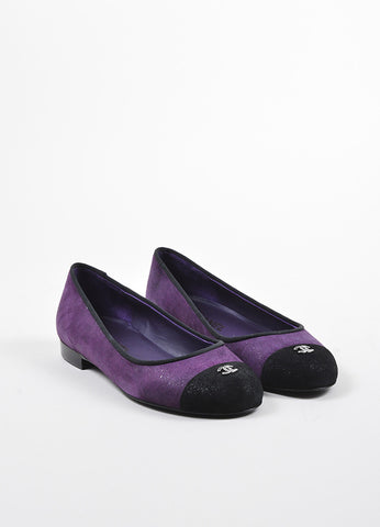 Purple and Black Chanel Suede Cap Toe 'CC' Ballerina Flats Frontview