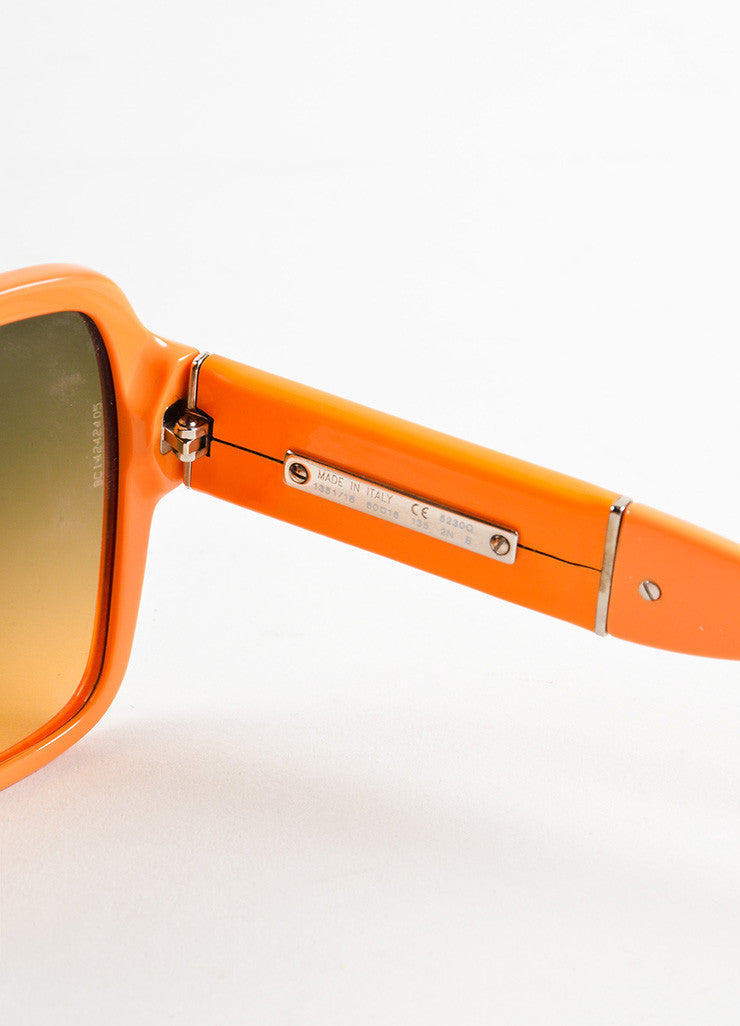 "Chanel Orange Plastic and Patent Leather ""CC"" Oversized ""5230Q"" Sunglasses Brand"
