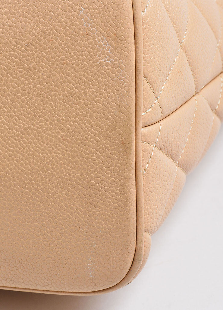 Beige Chanel Caviar Leather 'CC' Logo Quilted Medallion Tote Bag Detail 2