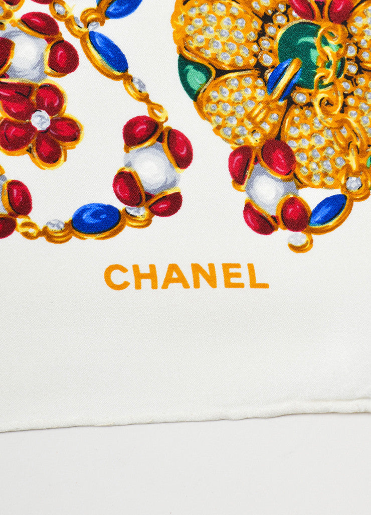 Multicolor Chanel Silk Floral Bejeweled Print Scarf Brand