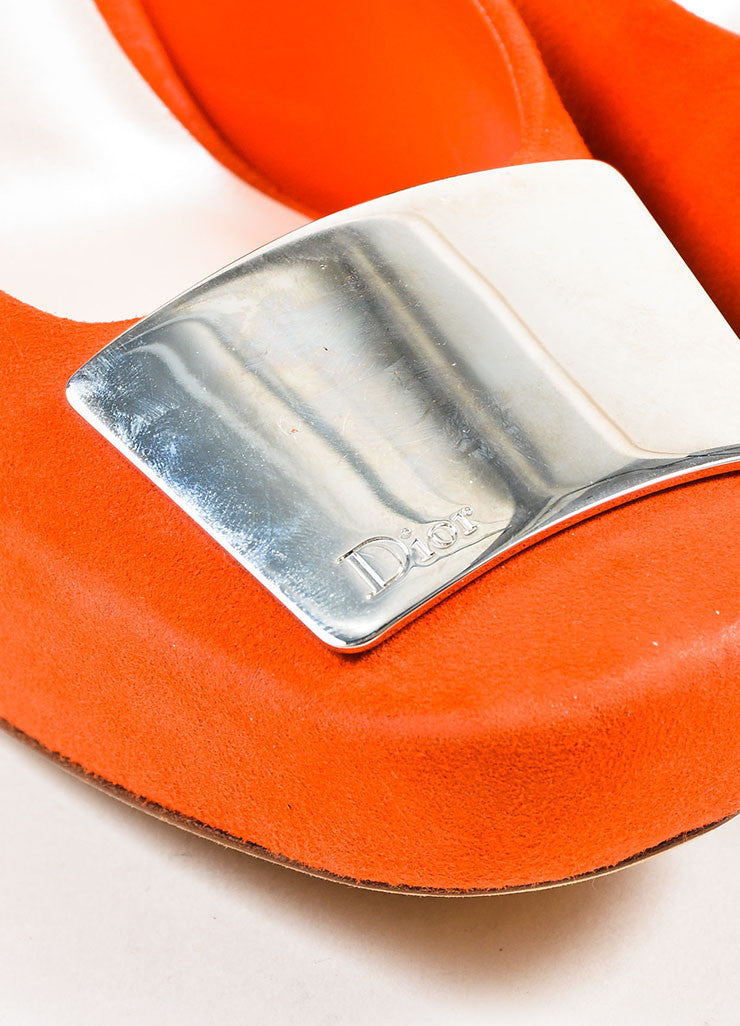 Orange and Silver Christian Dior Suede Square Toe Chunky Heel Pump Detail
