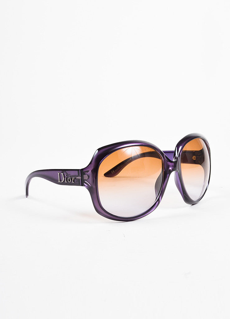 "Christian Dior Purple Translucent Oversized Oval ""Dior Glossy 1"" Sunglasses Sideview"
