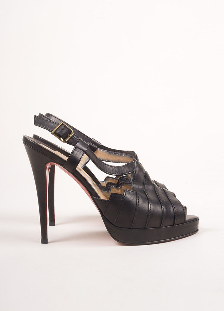 "Christian Louboutin New In Box Black Leather Strappy ""City Girl"" Platform Sandals Sideview"