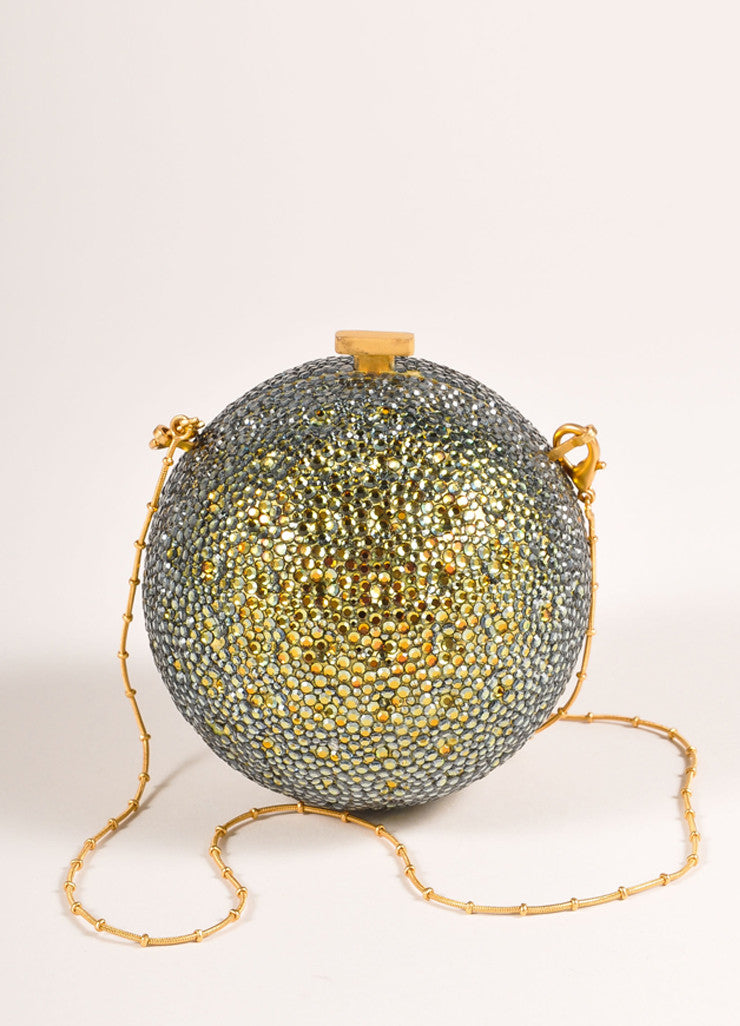 Devi Kroell Green and Gold Toned Rhinestone Sphere Small Minaudiere Clutch Bag Frontview