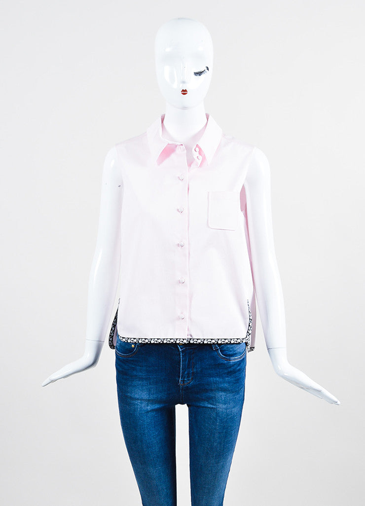 Pink, Black, and White Trim Christian Dior Sleeveless Button Up Crop Top Frontview