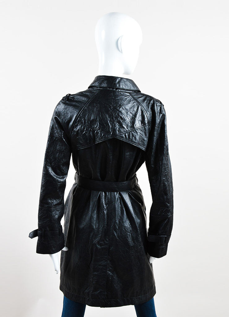 Each x Other Black Leather Long Sleeve Trench Coat Back
