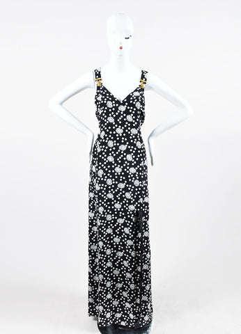 Black and White Emanuel Ungaro Floral Polka Dot Suspender Maxi Dress Frontview