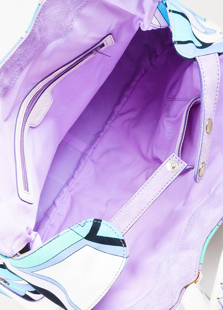 Emilio Pucci White, Lavender, and Teal Canvas Leather Trim Printed Pockets Handbag Interior