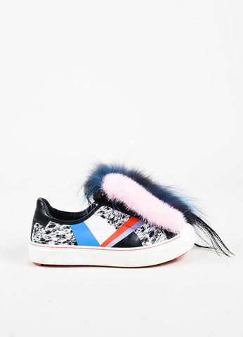 "Fendi Black and Multicolor Leather and Mixed Fur ""Monster"" Sneakers Sideview"
