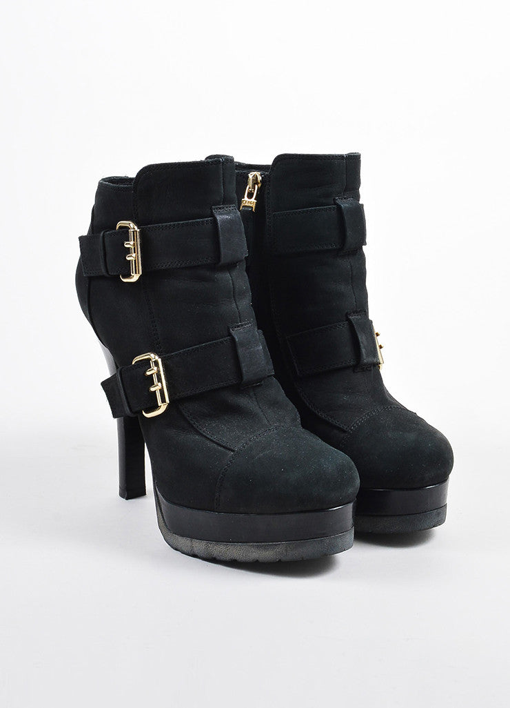 Fendi Black Suede Gold Toned Buckle Platform Heeled Ankle Booties Frontview