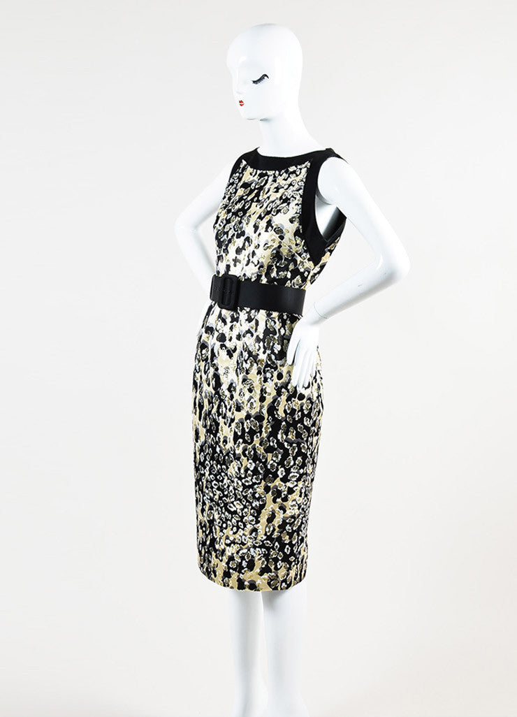 Giambattista Valli Black and Metallic Gold Silk Jacquard Belted Sleeveless Dress Sideview