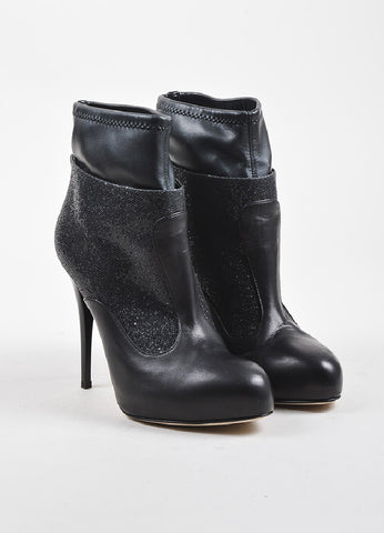 Giuseppe Zanotti Black Leather Glittered Platform Stiletto Booties Frontview