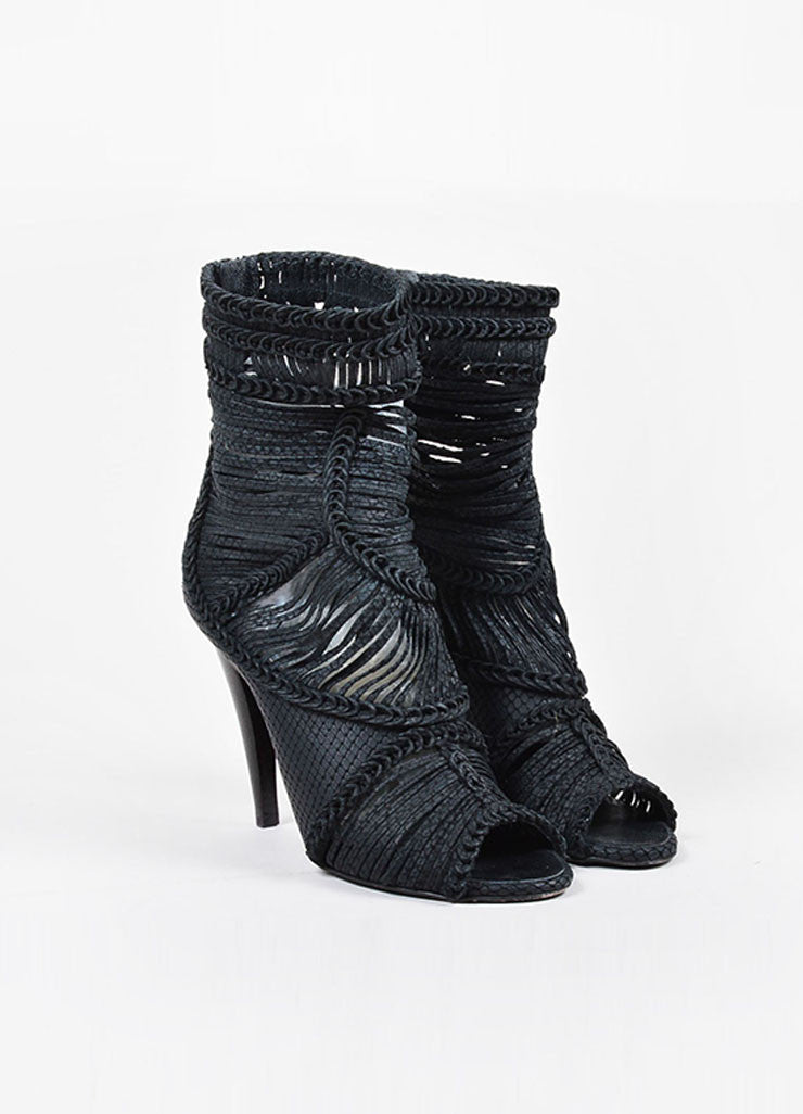 Giuseppe Zanotti Black Leather Strappy Braided Peep Toe High Heel Boots Frontview