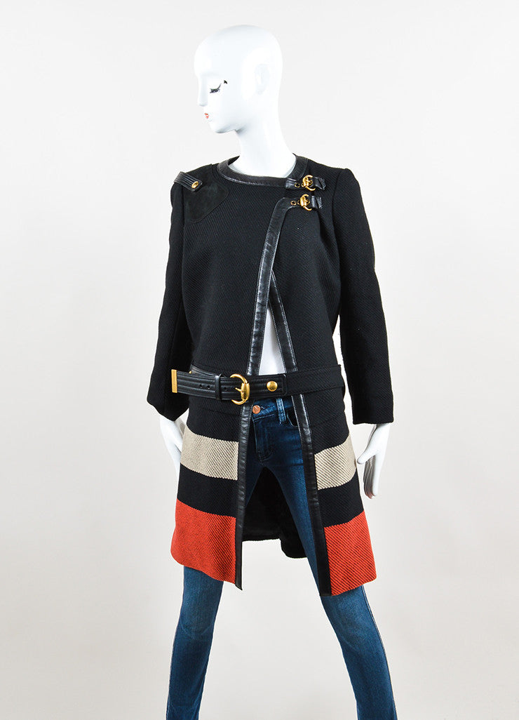 Black, Red, and Beige Gucci Wool Leather Trim Cropped Sleeve Belted Coat
