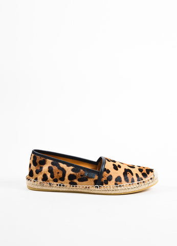 Black and Tan Gucci Leopard Print Ponyhair Espadrille Loafers Side