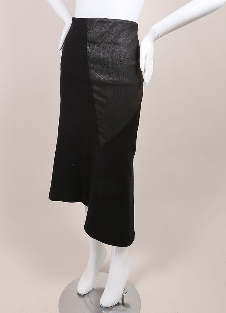 "Haider Ackermann New With Tags Black Asymmetric Leather and Wool ""Serlupi"" Skirt Sideview"