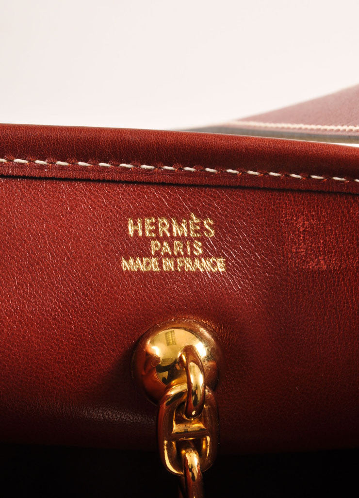 "Hermes Cream and Brown Raffia and Leather Toggle ""Vespa"" Shoulder Bag Brand"