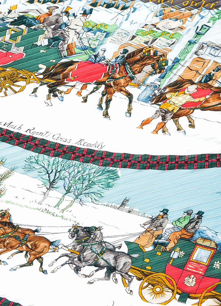 "Hermes Multicolor Silk Pleated Winter Print ""L'Hiver En Poste"" Plisse Scarf Detail"
