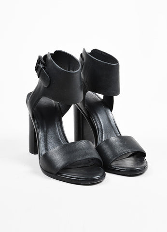 "Joie ""Blackout"" Leather Two Piece ""Opal"" Block Heel Sandals  Frontview"