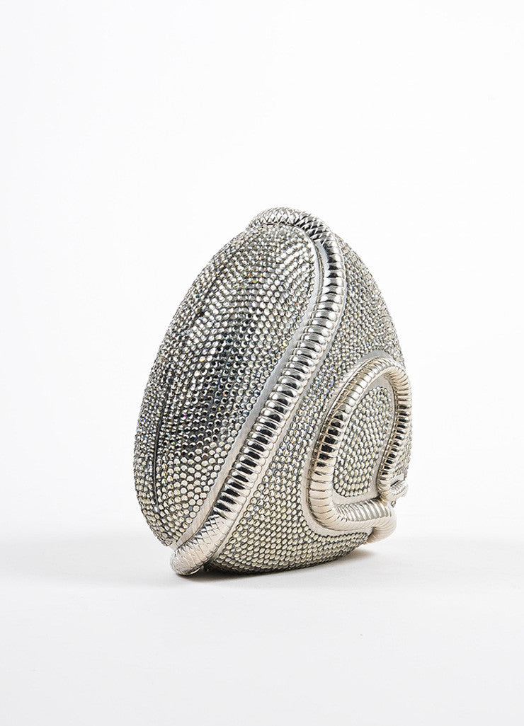 Judith Leiber Metallic Silver Toned Snake Frame Crystal Encrusted Miniaudiere Sideview
