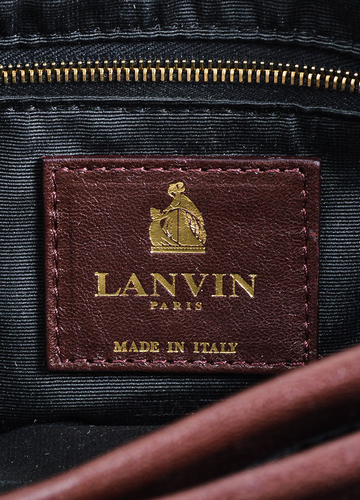 "Oxblood Red Lanvin Lambskin Leather Chain Strap ""Medium Sugar"" Flap Bag Brand"