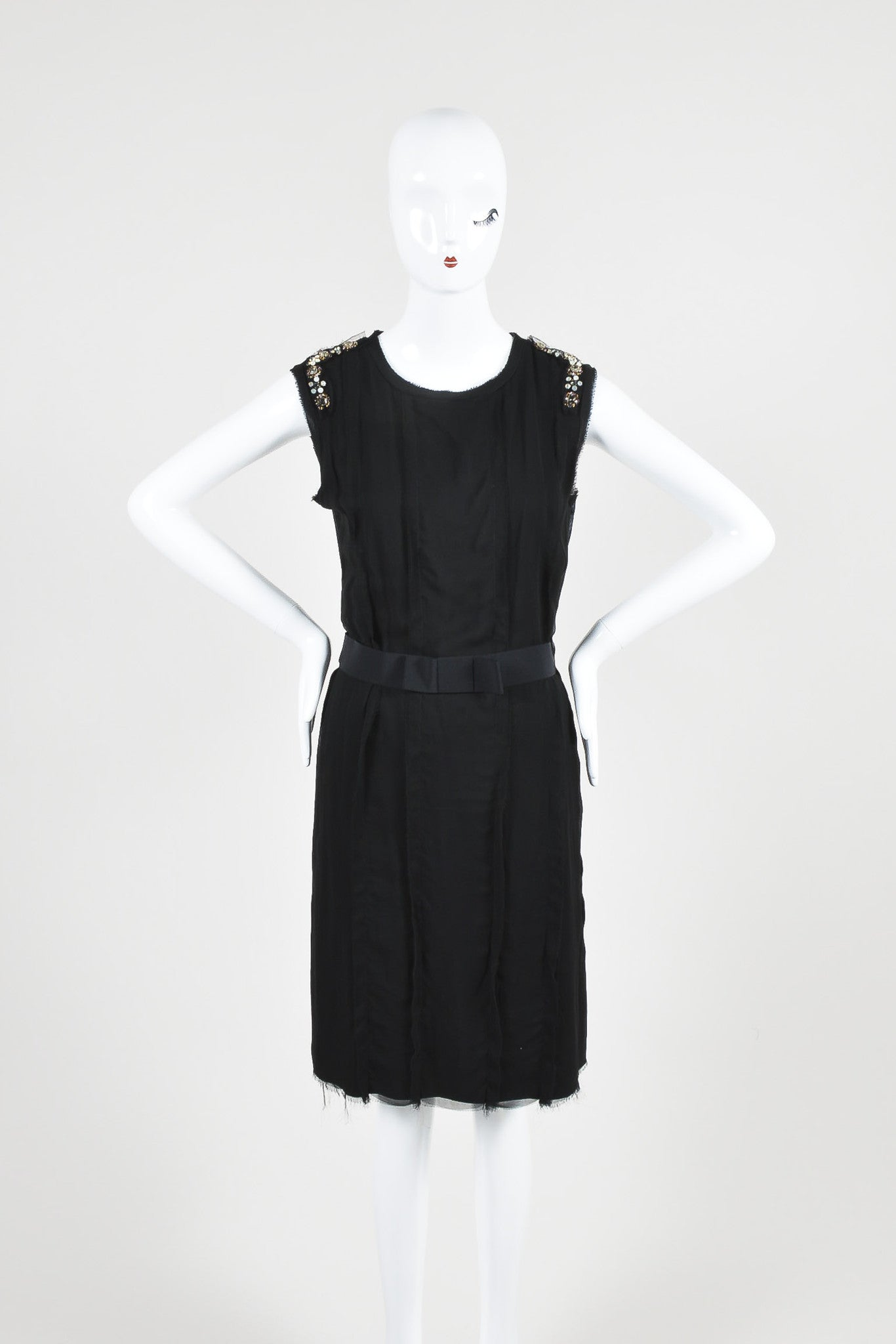Lanvin Black Cotton Knit Chiffon Crystal Embellished Belted Sleeveless Dress Frontview