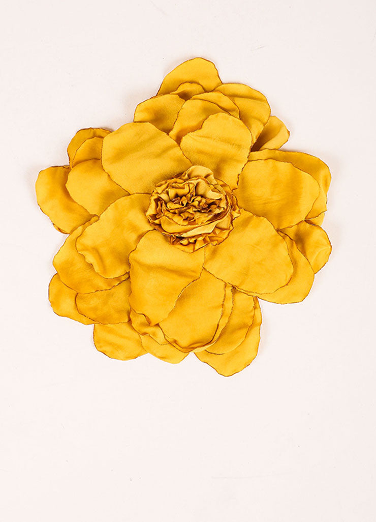 Lanvin Yellow Silk Oversized Flower Pin Brooch Frontview