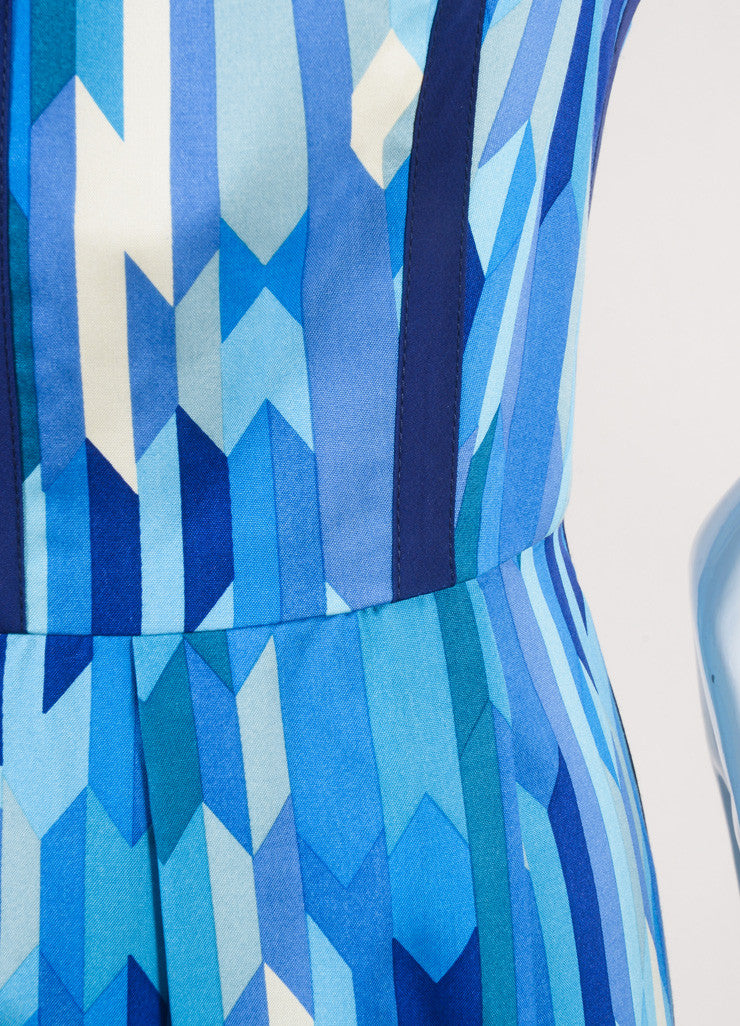 Lela Rose New With Tags Blue and Green Silk Geometric Print Sleeveless A-Line Dress Detail