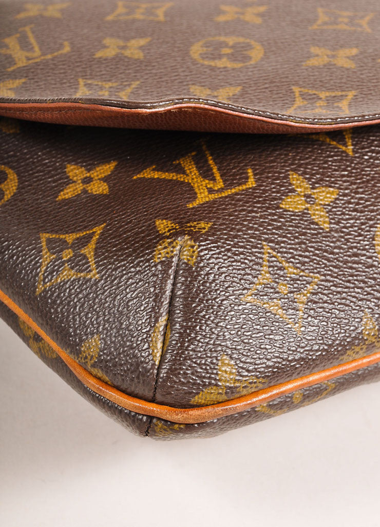 "Louis Vuitton Brown Monogram Coated Canvas ""Musette Tango"" Shoulder Bag Detail"
