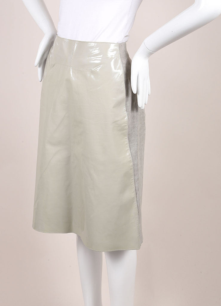 Marni Grey Patent Leather and Linen Straight Knee Length Skirt Sideview