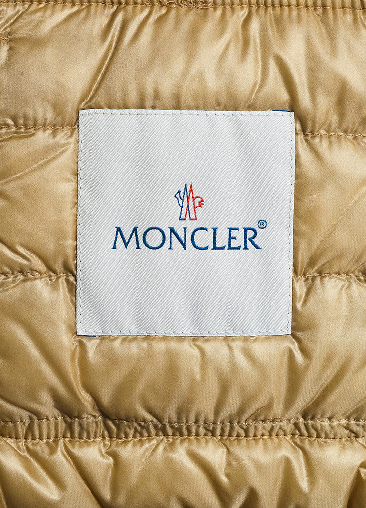 Moncler Tan Suede Down Quilted Puffer Coat Brand
