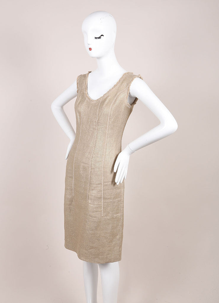 Oscar de la Renta Gold Metallic Linen and Hemp Sleeveless Sheath Dress Sideview